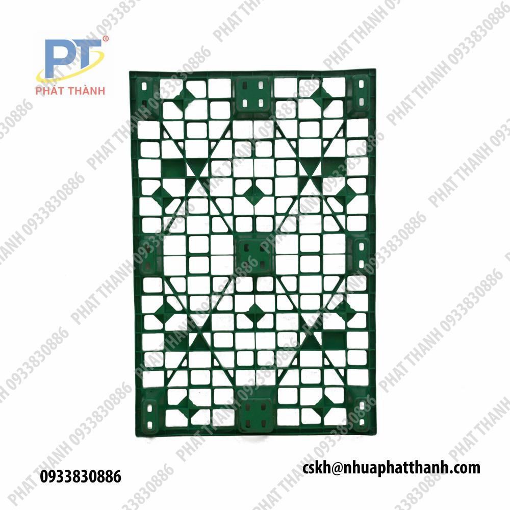 Pallet nhựa 1200x800x145 xanh lá chân cốc