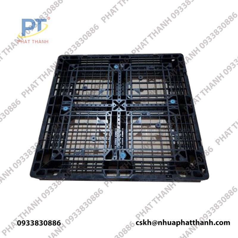 Pallet nhựa liền khối 1 mặt 1100x1100x120mm đen
