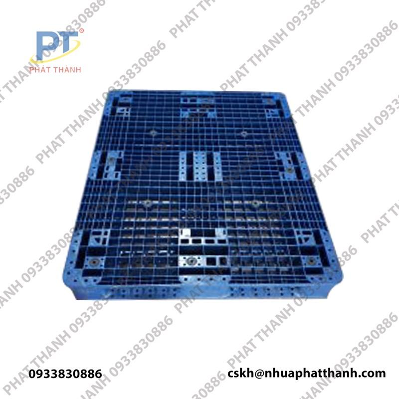 Pallet nhựa liền khối 2 mặt màu xanh đậm 1200x1000x150mm