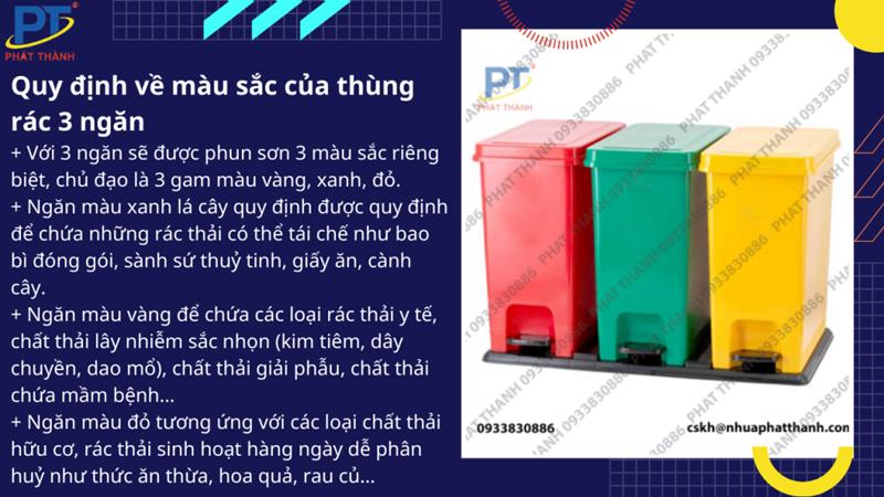 Quy định về màu sắc của thùng rác 3 ngăn