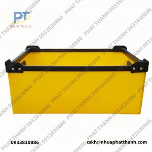 Thùng nhựa danpla thường 2 lớp màu vàng có nắp