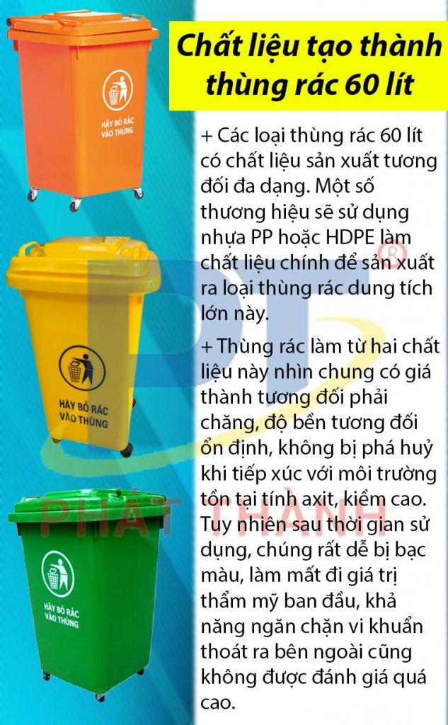 Chất liệu tạo thành thùng rác 60 lít