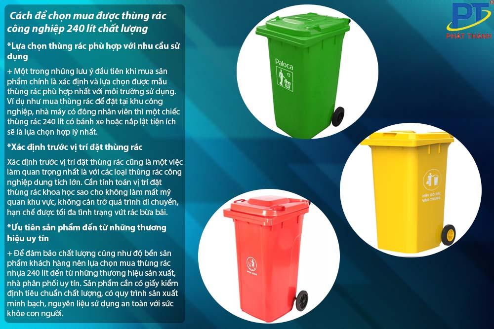 Cách để chọn mua được thùng rác công nghiệp 240 lít chất lượng