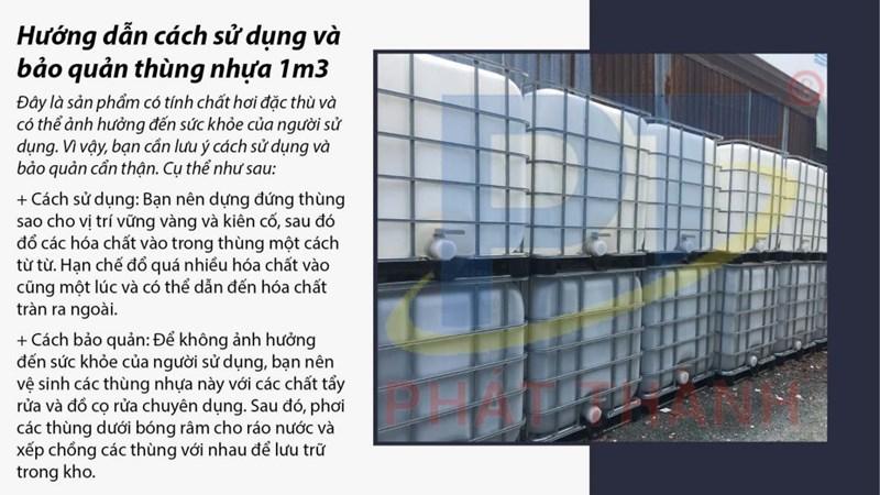 Cách sử dụng và bảo quản thùng nhựa 1m3