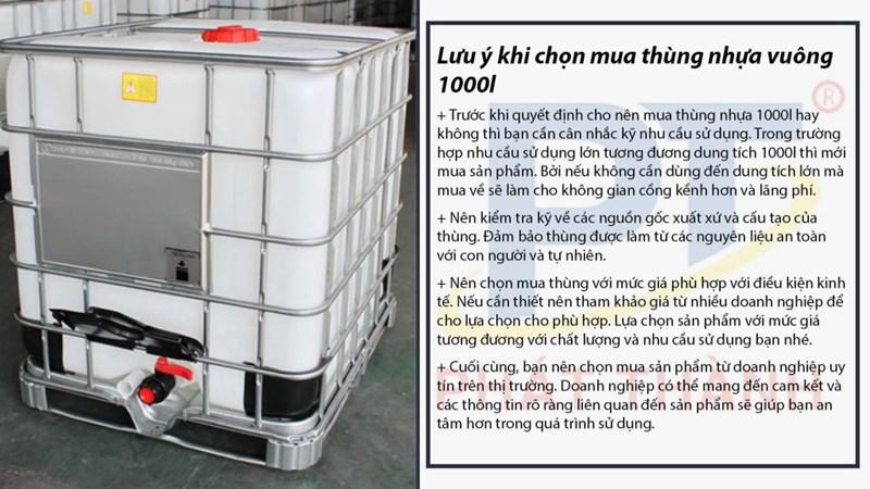 Lưu ý khi chọn mua thùng nhựa vuông 1000l