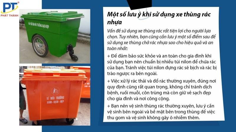 Lưu ý khi sử dụng xe thùng rác nhựa