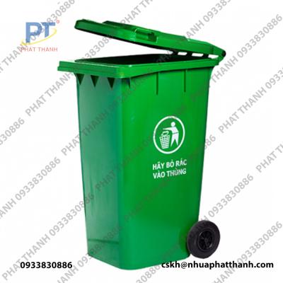 Thùng rác nhựa 360L nắp kín màu xanh lá