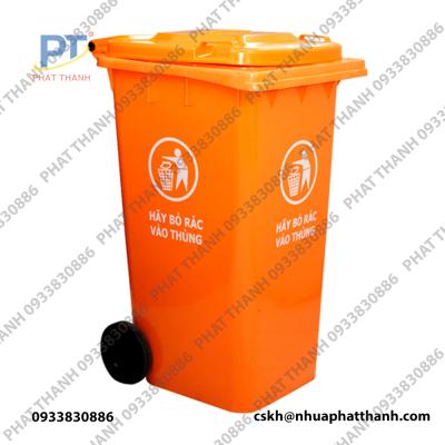 Thùng rác có bánh xe 360L màu da cam
