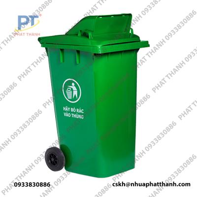Thùng rác nhựa công nghiệp 240 lít nắp hở màu xanh