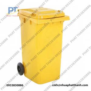 Thùng rác công cộng 240 lít giá rẻ, màu vàng loại có bánh xe