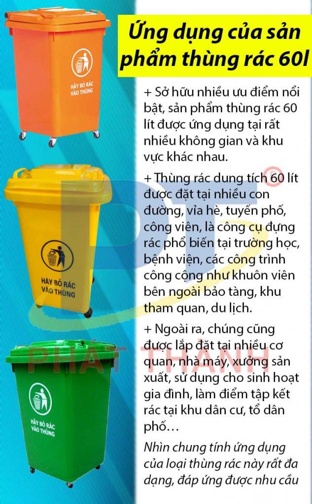 Ứng dụng của sản phẩm thùng rác 60l