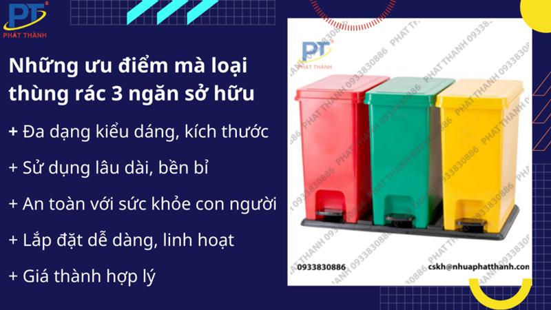 Ưu điểm của thùng rác nhựa 3 ngăn