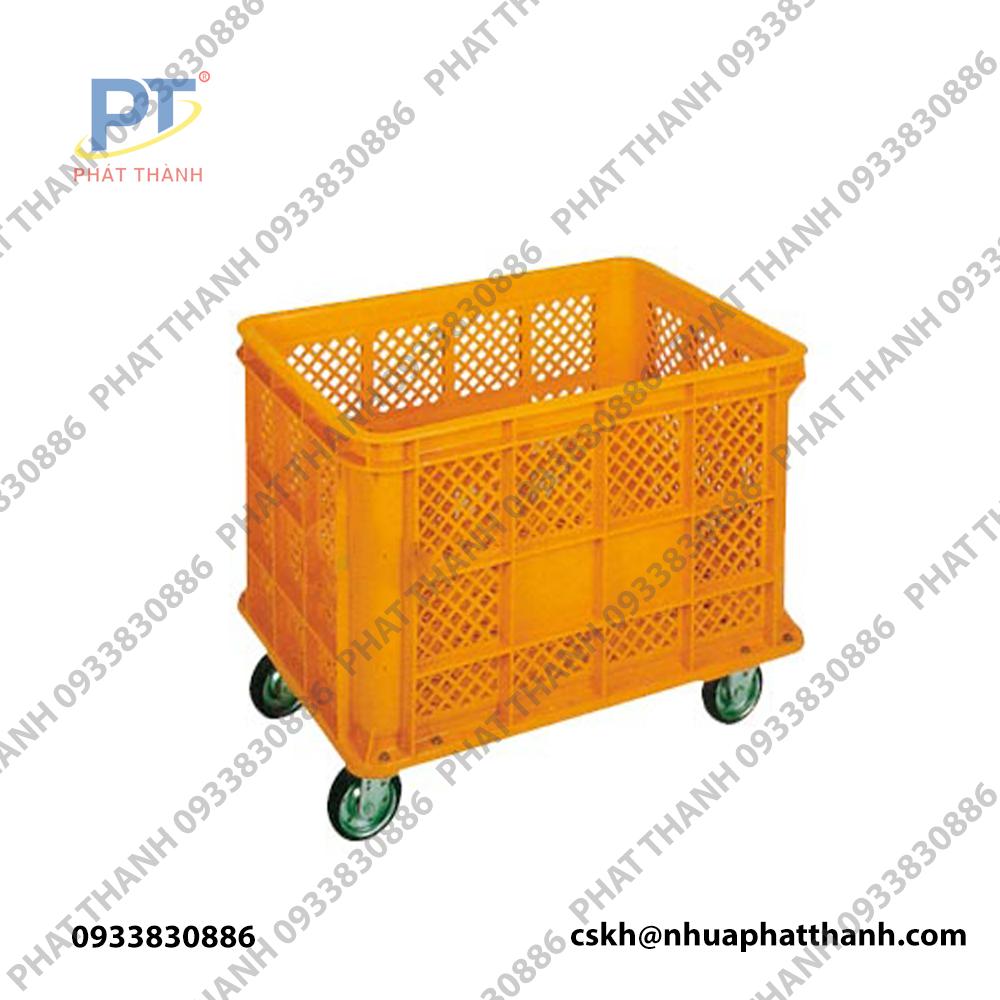 Thùng nhựa rỗng NJB 400G-PT màu vàng với 4 bánh xe