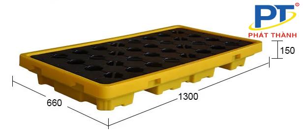 Ảnh 2: Pallet nhựa chống tràn dầu kích thước 1300 * 660 * 50