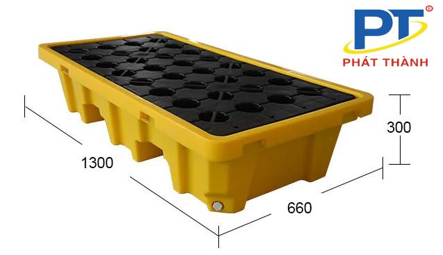 Ảnh 3: Pallet nhựa chống tràn dầu Kích thước 1300*660*300