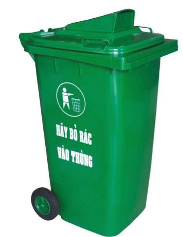 Thùng rác công cộng màu xanh lá