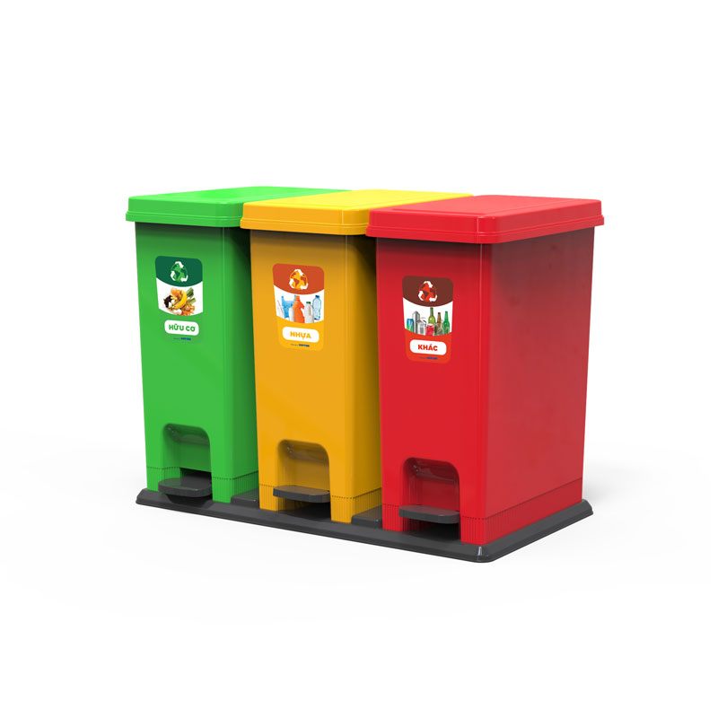 Thùng rác 3 ngăn với 3 màu, phân loại 3 loại rác khác nhau