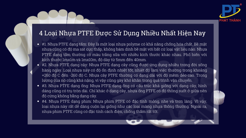 4 Loại Nhựa PTFE Được Sử Dụng Nhiều Nhất Hiện Nay