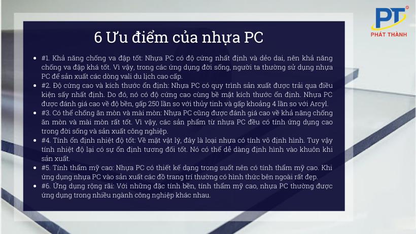 6 Ưu điểm của nhựa PC
