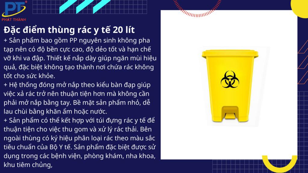 Đặc điểm thùng rác y tế 20 lít