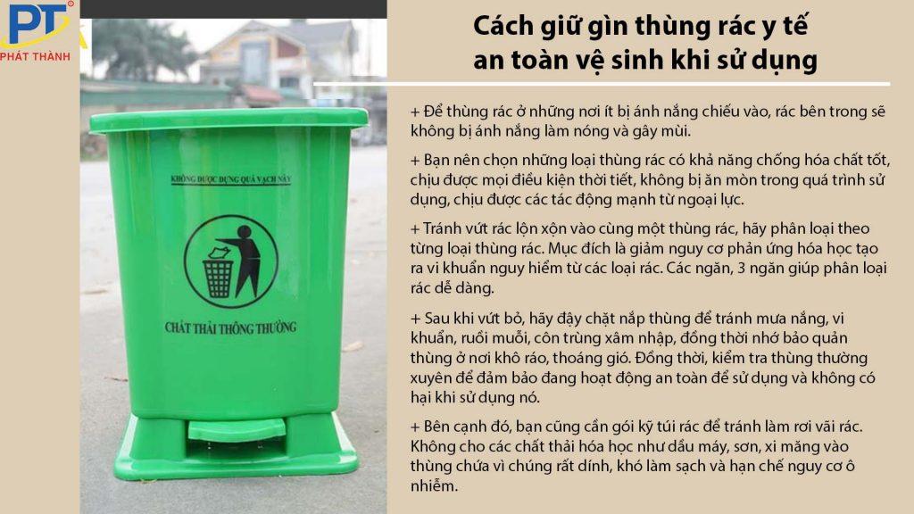 Cách giữ gìn thùng rác y tế