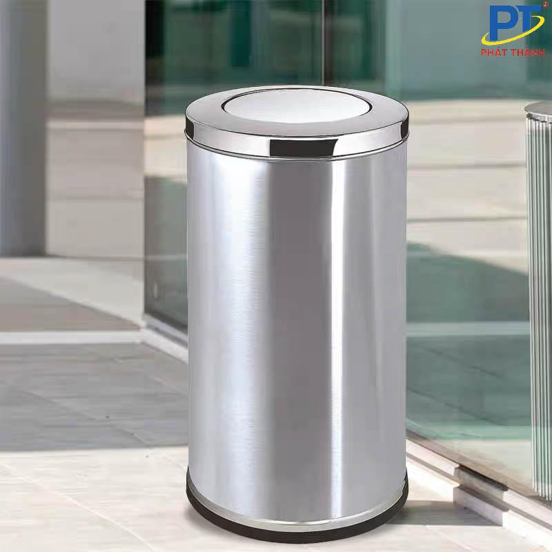 Thùng rác inox có nắp lật