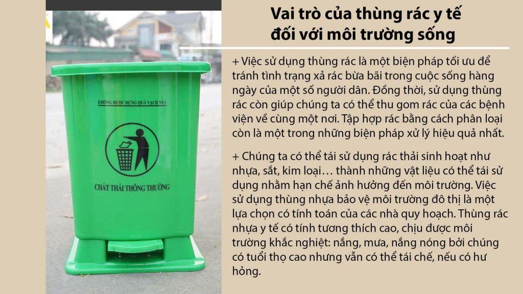 Vai trò của thùng rác y tế